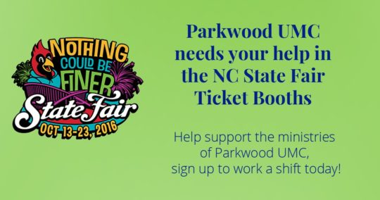 Parkwood UMC working NC State Fair Ticket Booths
