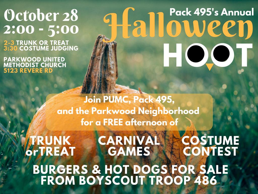 Pack 495 Halloween Hoot - Parkwood UMC